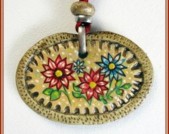 Colgante artesanal de flores, joyería hecha a mano, joya pintada a mano, flores pintadas, regalo para ella, bisutería, joya artesanal,collar