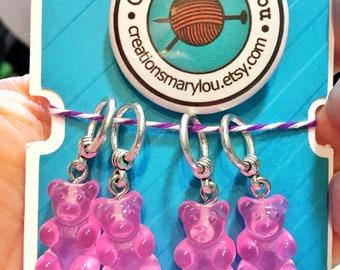 4 cute gummy bears Stitch markers