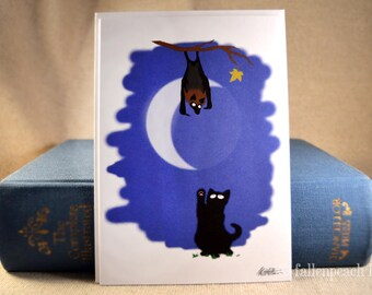 Black Cat and Fruit Bat Illustration Greeting Card - Sammy Meets Normund