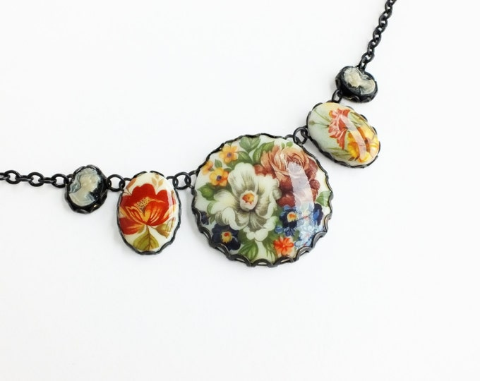 Statement Floral Necklace Vintage Flower Pendant Cameos Victorian Jewelry Flower Necklace Victorian Jewelry Romantic Bridal