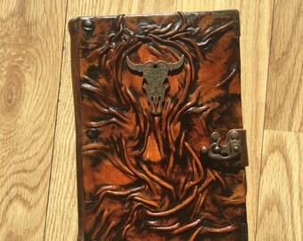 L Size Leather Journal, Leather Journal, Bull Emblem, Viking Journal, Gift Idea