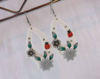 Handmade Light Weight Air Dry Clay Flower and Lady Bug Earrings