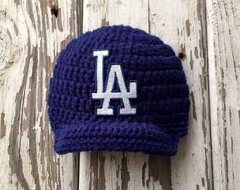 Baby Boy Navy Los Angeles Dodgers Inspired Baseball Hat / Newborn Photo Prop / Sitter Session / Sizes Newborn - 9 Months **MADE TO ORDER**