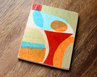 Original Miniature Artwork for the Mid Century Home - Orange Martini