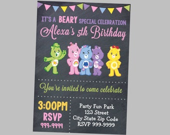 Carebears Birthday Invitation 4x6 or 5x7