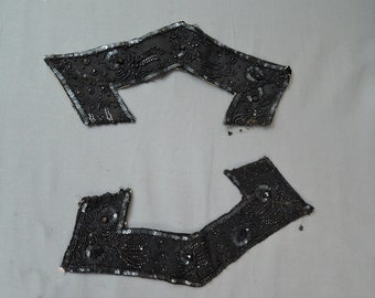 2 Pieces of Beaded VictorianTrim, Black Silk with Sequins and Black Glass Beads, 13 inches Vintage Dress Remnant