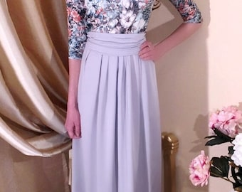Gray- Silver Floral Maxi Women's Dress/ Pockets Round Neck 3/4 Sleeves Sash