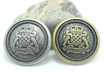 6 Pcs 0.59~0.91 Inches Retro Bronze/Anti-silver British Lion Crown Metal Shank Buttons For Coats