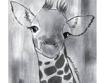 5x7 Nursery Print - Giraffe, Grey