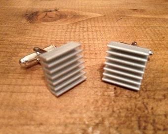 Aluminium Heatsink Cufflinks, Raspberry Pi