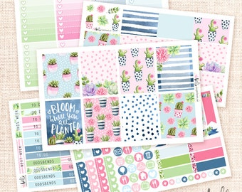 Succulents - Sticker Kit / 5 sheets, watercolor planner stickers / flowers, cactus