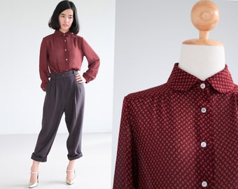 Long  sleeve blouse  paisley print in red crimson color peter pan collar shirt 90s Button Up Shirt Vintage 1990s Small Medium