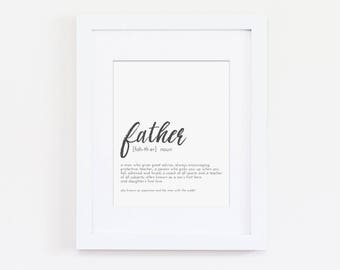 Definition of a Father, Father's Day Present, Present for Dad, Home Wall Art, Home Decor, Office Decor, Office Art Print, Art Print for Dad