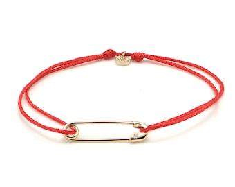 14 Karat Gold Small Lucky Pin Bracelet , 14 Karat Gold Safety Pin Bracelet