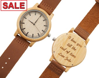 Wooden Watch, Mens Watch, Engraved Wood Watch, Personalized Watch, Groomsmen Gift, Husband Gift, Gift for Dad