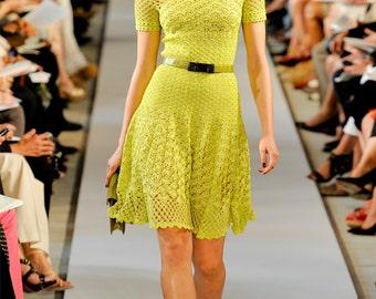 Crochet dress PATTERN, tutorial in ENGLISH, designer crochet dress pattern PDF, high fashion crochet dress pattern Pdf, dress short sleeves.