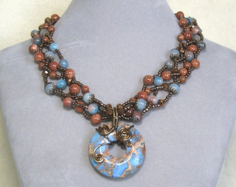 Multi Strand Blue Agate and Gold Stone Necklace Chunky Wire Wrapped Jasper Donut Pendant Necklace