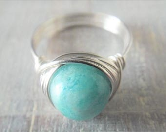 Amazonite Ring Wire Wrapped Ring Blue Stone Ring Aqua Stone Ring Amazonite Jewelry Ring for Girlfriend Gift for Best Friend Wire Ring