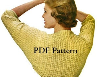 Women's Shrug Pattern, CLASSIC Crochet Vintage 1950's, Digital Download, Instant PDF