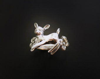 Deer in the Flowers Ring in Sterling Silver