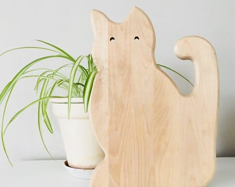 Vintage Wood Cat Cutting Board Wooden Cat Shaped Cheese Board