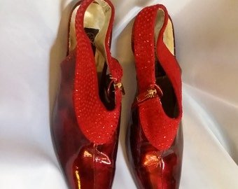 shop closing womens red patent pumps Vero Cuoio red rhinestone slingbacks red formal shoes size 9