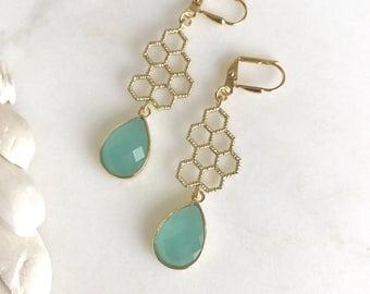 Gold Honeycomb and Aqua Dangle Earrings in Gold.  Honeycomb Earrings. Drop Earrings. Modern Jewelry.