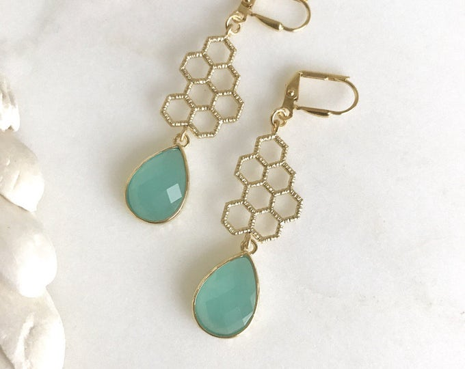 Gold Honeycomb and Aqua Dangle Earrings in Gold.  Honeycomb Earrings. Drop Earrings. Modern Jewelry.