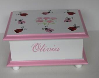 Baby Keepsake  Box - Baby Memory Box -Ladybug & Cherry Blossom personalized baby girl shower gift hand painted