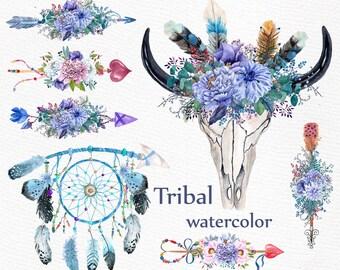 "Watercolor tribal clipart: ""BULL SCULL CLIPART"" Floral Arrows clipart Blue flowers Boho wedding Diy wedding Dreamcatcher clipart"