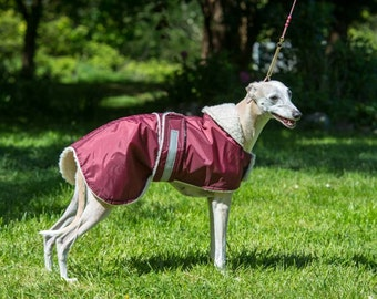 "whippet   waterproof  dog coat  in any colour in sizes 19"" to 26"