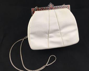 SALE! Vintage White Judith Leiber Art Deco Snakeskin Clutch
