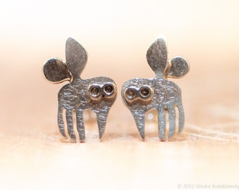 MOSQUITO Stud Earrings Sterling Silver Mini Zoo series
