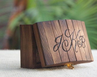 Personalized Rustic Ring Bearer Box - Stained - Burned/Engraved - Monogram - Ring Bearer Pillow Alternative/Keepsake - Country Chic/Woodland