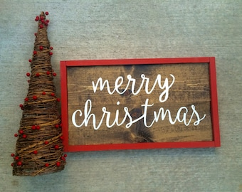 Merry Christmas Handcrafted Wooden Christmas Sign