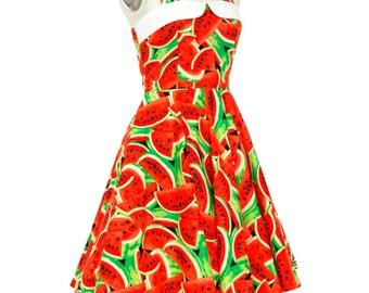 Watermelon Dress Fruit Dress Tropical Dress Festival Dress Party Dress Summer Dress Pin Up Dress Retro Dress Sun Beach Dress Holiday Dress