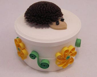 Hedgehog All-Paper Quilled Box - Handmade