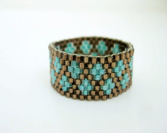 Peyote Ring / Seed Bead Ring in Brown and Sea Green /  Beaded Ring / Seed Bead Ring / Size 7.1/2 / Beadwork Ring / Delica Ring / Peyote Band