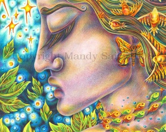 """Every Ending Is But A Beginning - an 8 x 10"""" ART PRINT of a peacul nightime goddess with birds seeking grace and sacred earthyly guidance"""