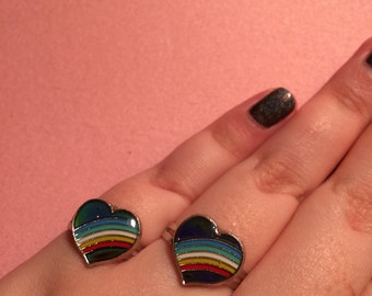 Heart rainbow adjustable 90s mood ring