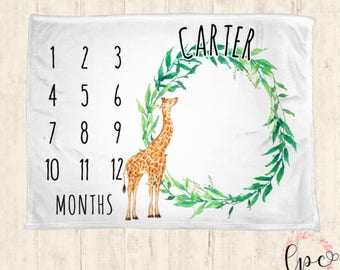 Unique designs and personalized gifts by littlepeonyco on etsy monthly milestone blanket personalized baby blanket milestone blanket giraffe baby blanket baby negle Gallery