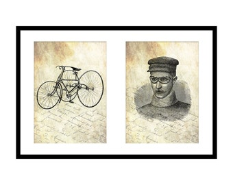5x7 Antique Tricycle Prints: Father's Day Gift Idea - Gift for Cyclist - Vintage Goggles Print - Printable Victorian Wall Art - Download