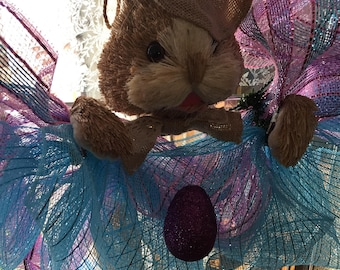Pink Blue easter bunny mesh wreath for spring - burlap - easter egg - home - decor 20 inches - Holiday - for spring