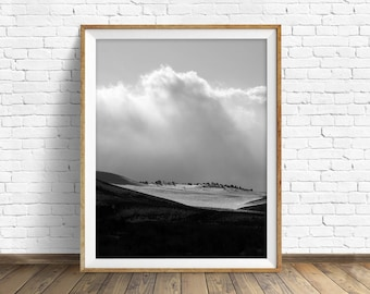 "landscape, black and white photography, large art, printable art, instant download printable art, mountain art - ""Winter Landscape No. 1"""