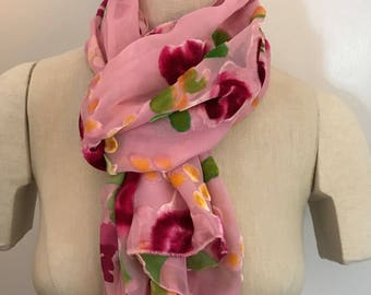 Pink, Silk & Rayon Velvet Scarf with a rose pattern