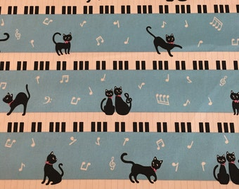 Kiyohara Japan - Piano Kitties Blue - Cotton Oxford