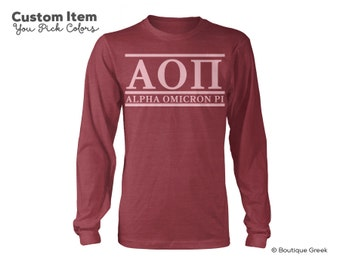 AOII Alpha Omicron Pi Custom Comfort Colors Classic Sorority Long Sleeve Tee