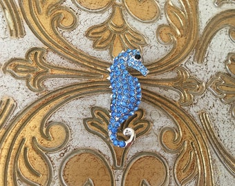 Seahorse Brooch.Blue Seahorse Brooch.Sea Horse.Silver Pin.bridal accessory.Rhinestone Seahorse.seahorse broach.beach wedding.Crystal