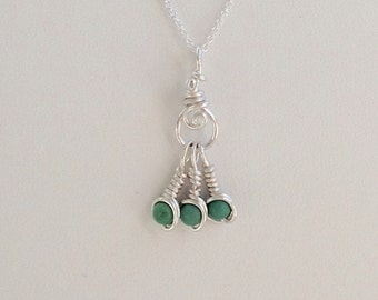 Turquoise Dangle Pendant Necklace Wrapped in Fine Silver