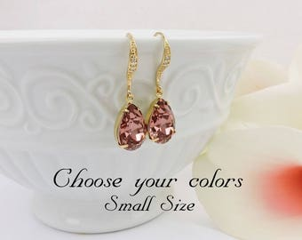 FREE US Ship Small Gold Blush Rose Swarovski Teardrop Bridal Earrings Swarovski Blush Rose Teardrops In Gold Bridal Earrings Bridesmaid Gift